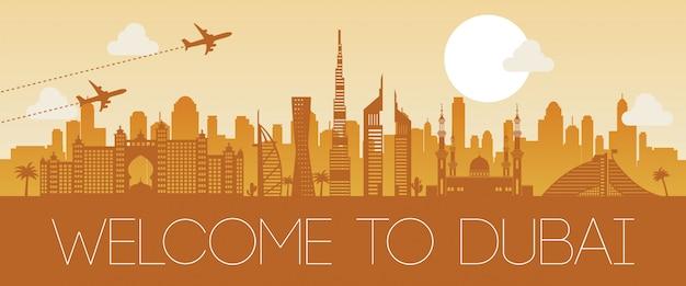 Ontwerp van het het oriëntatiepunt het oranje silhouet van doubai beroemde Premium Vector