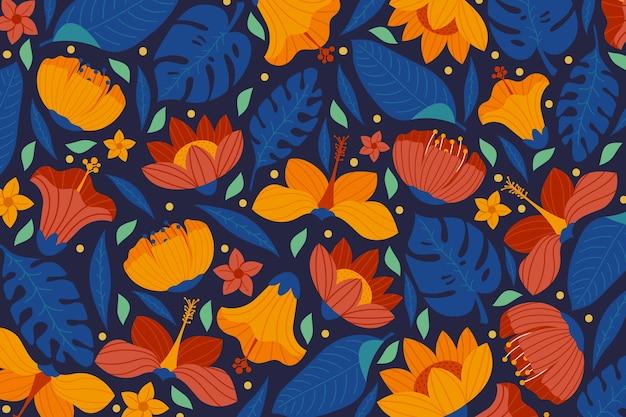 Ontwerp van kleurrijke exotische bloemenachtergrond Gratis Vector