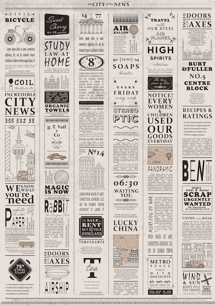 Ontwerp van oude vintage krantenmalplaatje Premium Vector