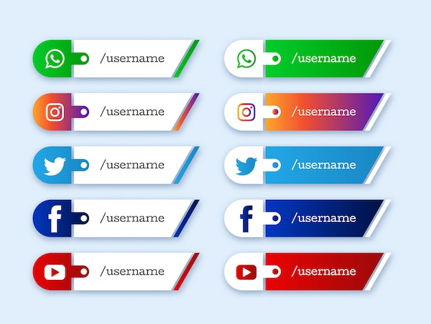 Ontwerp van sociale media lager derde pictogrammen Gratis Vector
