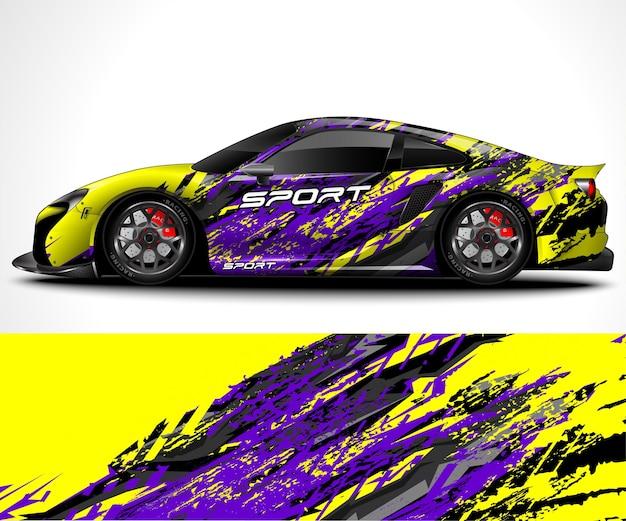 Ontwerp van sportwagenwrap en kleurstelling van het voertuig Premium Vector