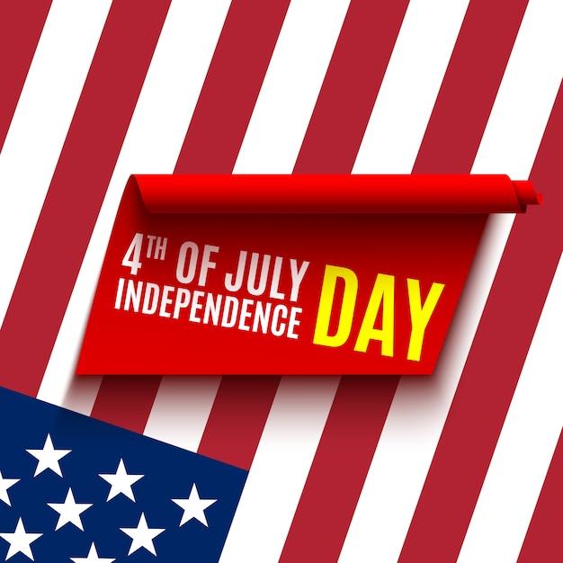 Ontwerp van wenskaart voor independence day. rood lint en vlag van verenigde staten. 4 juli. Premium Vector