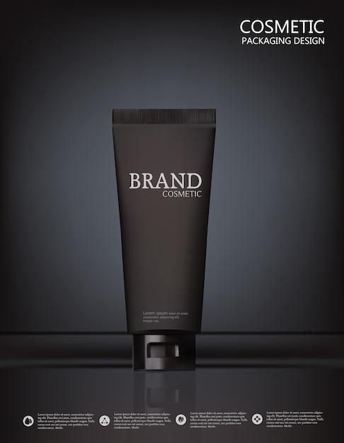 Ontwerpcosmetica product reclame op zwarte achtergrond. Premium Vector