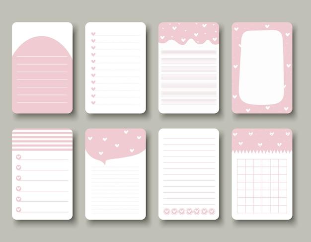 Ontwerpelementen voor notebook, dagboek, stickers en andere Premium Vector