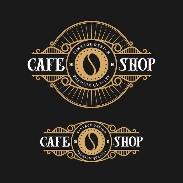 Ontwerpembleem voor koffie, met vintage stijl Premium Vector