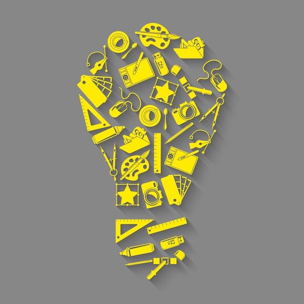 Ontwerper gereedschappen idee concept Gratis Vector