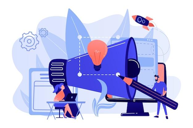 Ontwerpers werken aan een nieuw merk en een grote megafoon. merkidentiteit en logo, visitekaartje, advertentie en grafisch ontwerpconcept op witte achtergrond. Gratis Vector