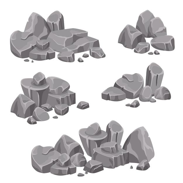 Ontwerpgroepen van rotsen en stenen keien Gratis Vector