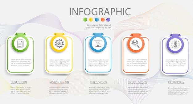 Ontwerpsjabloon bedrijf 5 stappen infographic grafiekelement. Premium Vector