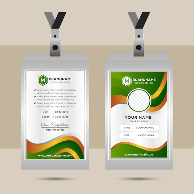 Ontwerpsjabloon bedrijfsidentiteitskaart met ruimte voor foto. groen, bruin en geel kleurverloop voor elementontwerpen. golvende stijl voor zakelijke identiteitskaart. Premium Vector