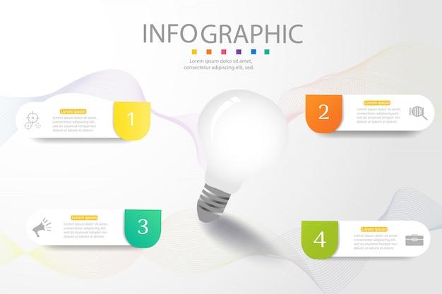 Ontwerpsjabloon business 4 opties infographic grafiekelement. Premium Vector