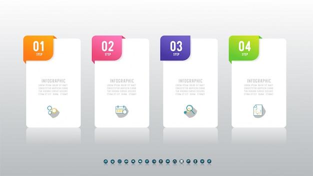 Ontwerpsjabloon business vier stappen infographic grafiekelement. Premium Vector