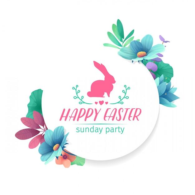Ontwerpsjabloon met florale decoratie voor de lente pasen. het ronde frame met het decor van planten, kruiden, bladeren, twijgen. uitnodiging voor paasvakantie met logo en konijn, bloemelement. Premium Vector