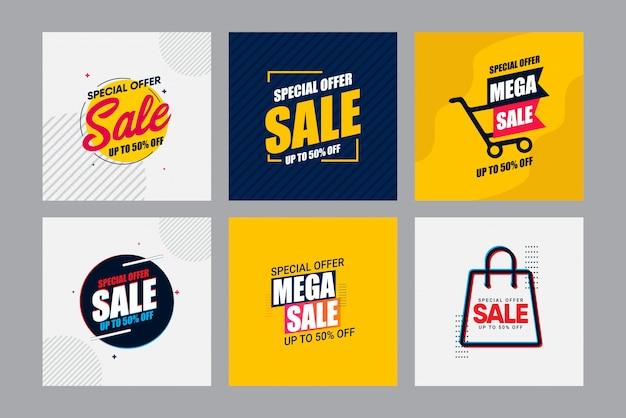 Ontwerpsjabloon moderne banner verkoop instellen. tot 50% korting. Premium Vector