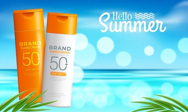 Ontwerpsjabloon voor cosmetische producten tegen de zon Premium Vector
