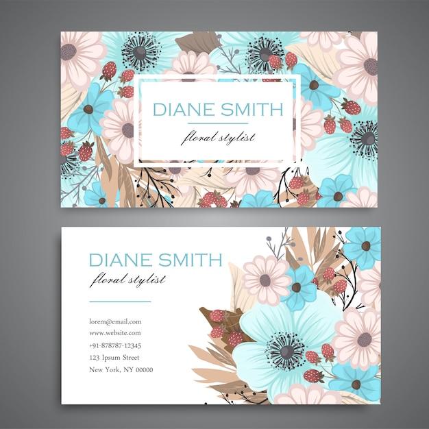 Ontwerpsjabloon voor visitekaartjes met kleurrijke textuur en bloem, blad, kruid. Gratis Vector