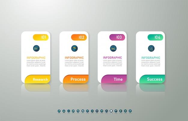 Ontwerpsjabloon zakelijke 4 opties infographic grafiekelement. Premium Vector