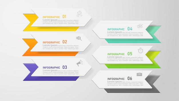 Ontwerpsjabloon zakelijke 6 opties infographic voor presentaties. Premium Vector