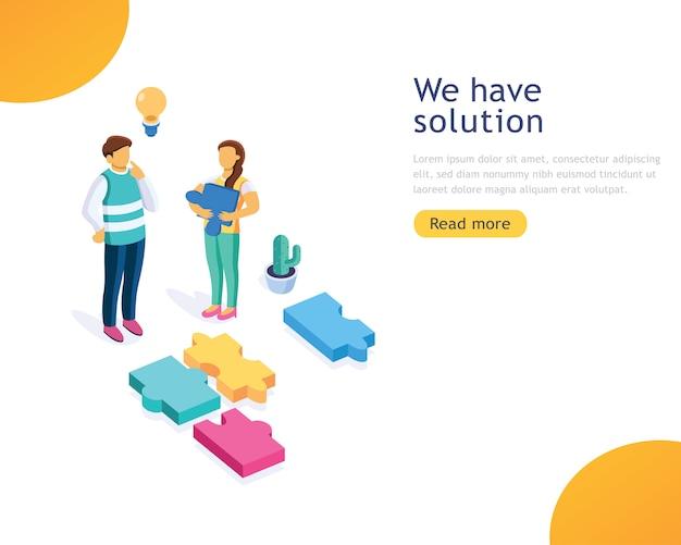 Ontwerpsjabloon zakelijke oplossingen Premium Vector