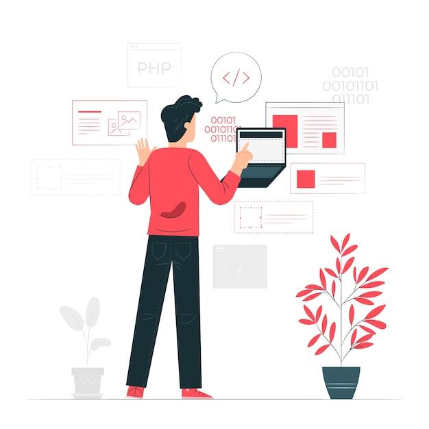 Ontwikkelaar activiteit concept illustratie Gratis Vector