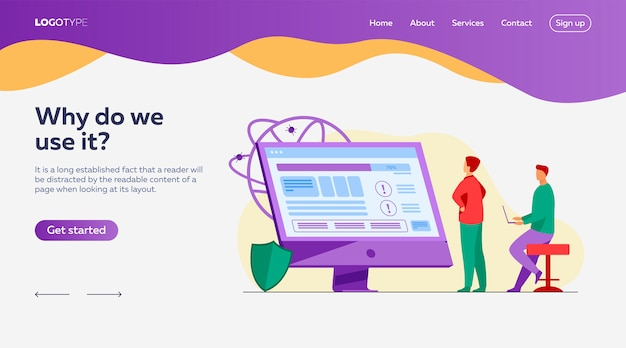 Ontwikkelaars die de sjabloon voor de bestemmingspagina van de software testen Gratis Vector