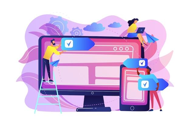 Ontwikkelaars gebruiken software op meerdere apparaten. platformoverschrijdende software, multi-platform en platformonafhankelijk softwareconcept op witte achtergrond. heldere levendige violet geïsoleerde illustratie Gratis Vector