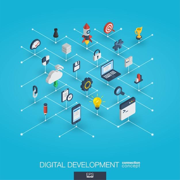 Ontwikkeling geïntegreerde 3d-web iconen. digitaal netwerk isometrisch concept. Premium Vector