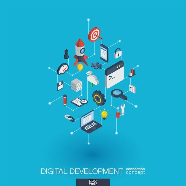 Ontwikkeling geïntegreerde web iconen. digitaal netwerk isometrisch interactieconcept. verbonden grafisch punt- en lijnsysteem. abstracte achtergrond voor programmeren, codering, app. infograph Premium Vector