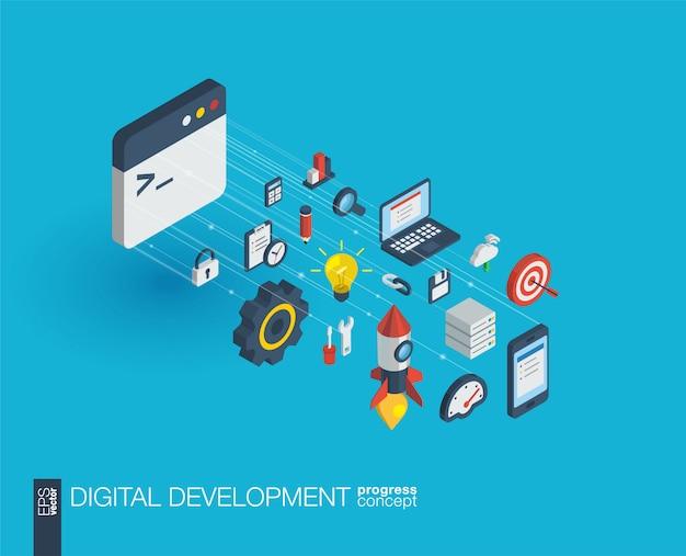Ontwikkeling geïntegreerde web iconen. digitaal netwerk isometrisch vooruitgangsconcept. verbonden grafisch lijngroeisysteem. abstracte achtergrond voor programmeren, codering, app. infograph Premium Vector