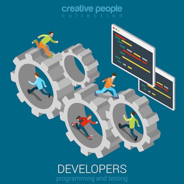 Ontwikkeling teamwork concept ontwikkelaars programmeur coder team in versnelling tandrad plat isometrisch. Gratis Vector