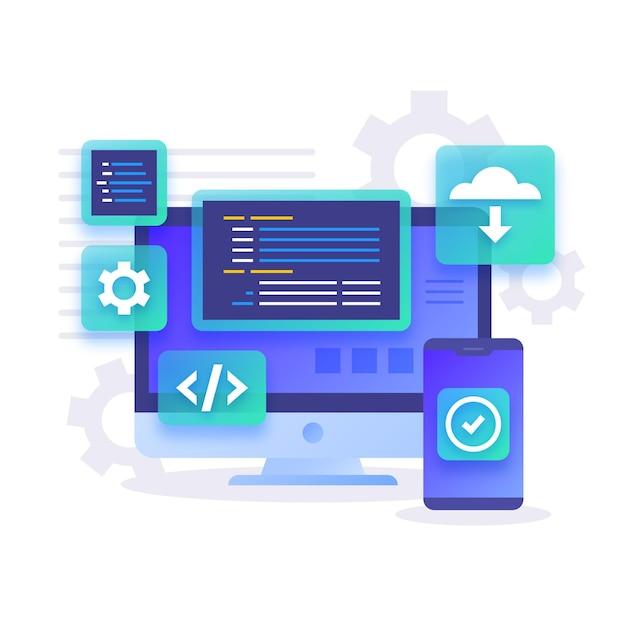 Ontwikkeling van desktop- en smartphone-apps Gratis Vector