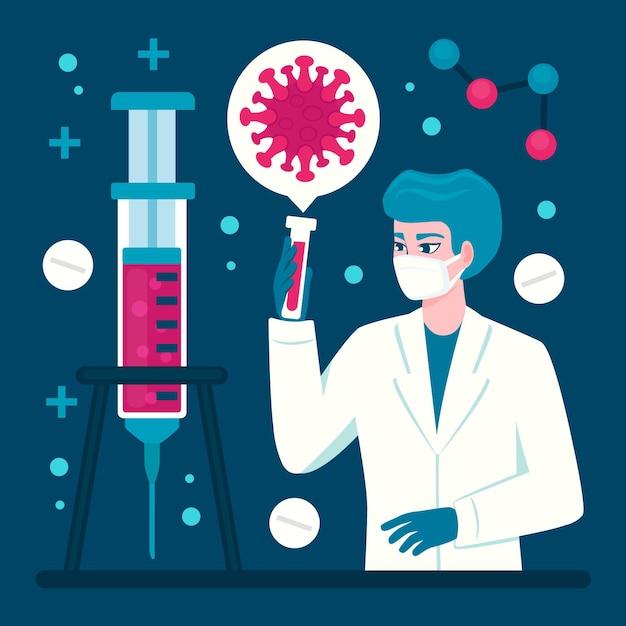 Ontwikkeling van het coronavirusvaccin met arts en buis Gratis Vector