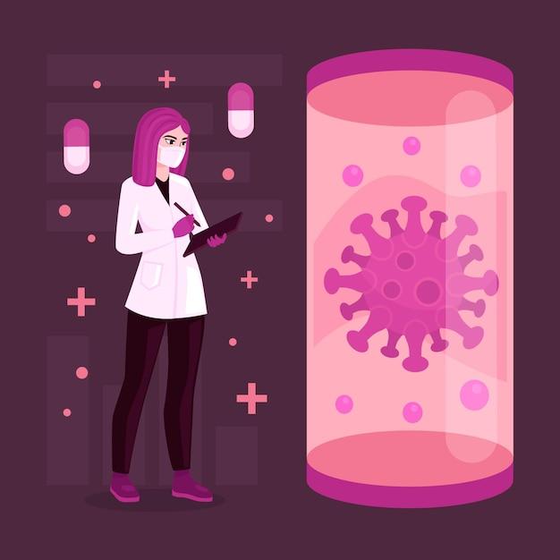 Ontwikkeling van het coronavirusvaccin met arts en virus Gratis Vector