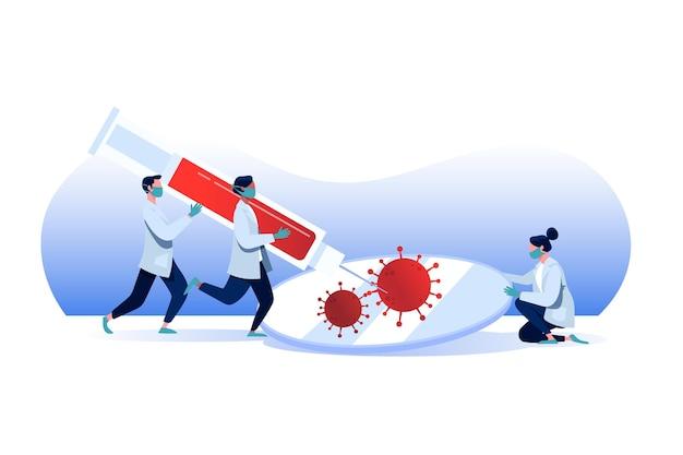 Ontwikkeling van het coronavirusvaccin met artsen Gratis Vector