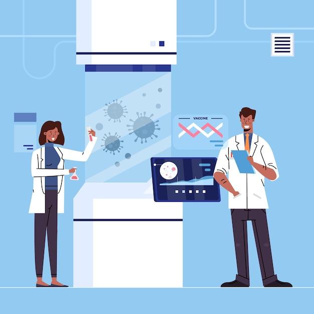Ontwikkeling van het coronavirusvaccin Gratis Vector