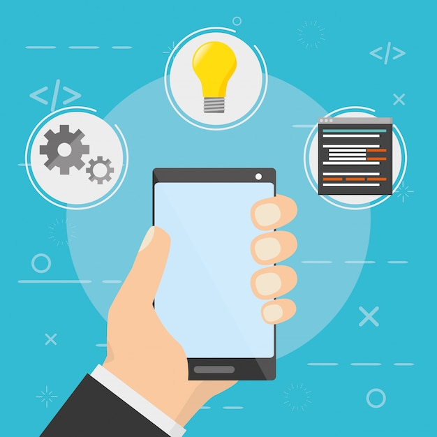 Ontwikkeling van mobiele apps Gratis Vector