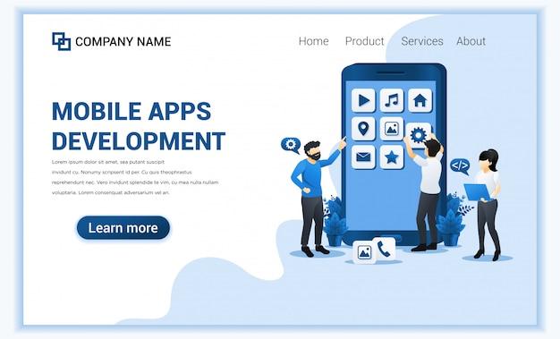 Ontwikkelingsconcept voor mobiele apps waarbij mensen een app bouwen en maken als ontwikkelaar. Premium Vector
