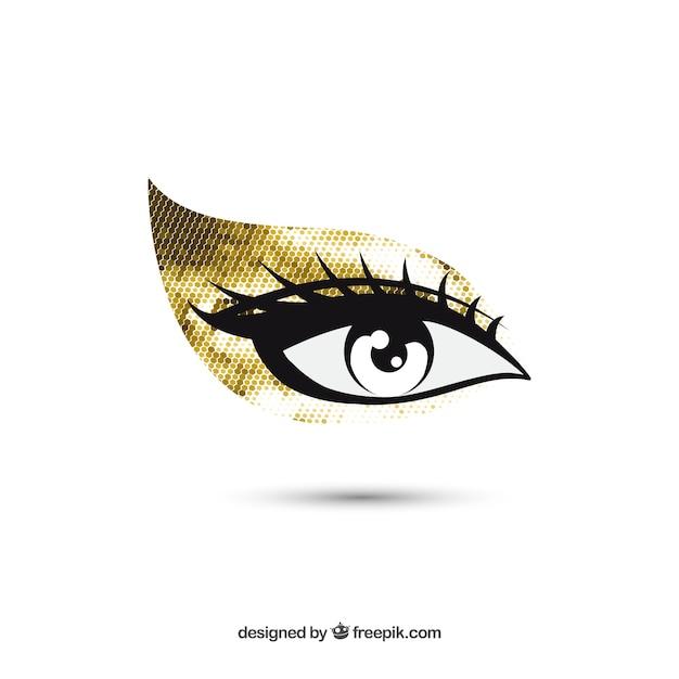 Oog gouden make-up Gratis Vector