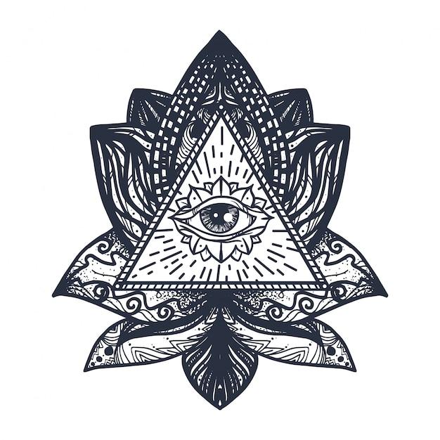 Oog op lotus tattoo Premium Vector