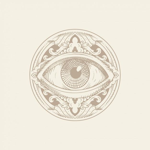 Oog van de voorzienigheid met ornament. gravure, handgetekende of tattoo-stijl. vrijmetselaars symbool. allemaal ziende ogen. de nieuwe wereldorde. heilige geometrie, religie, spiritualiteit, occultisme. Premium Vector