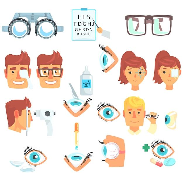 Oogarts diagnostische set, behandeling en correctie van visie cartoon illustraties op een witte achtergrond Premium Vector