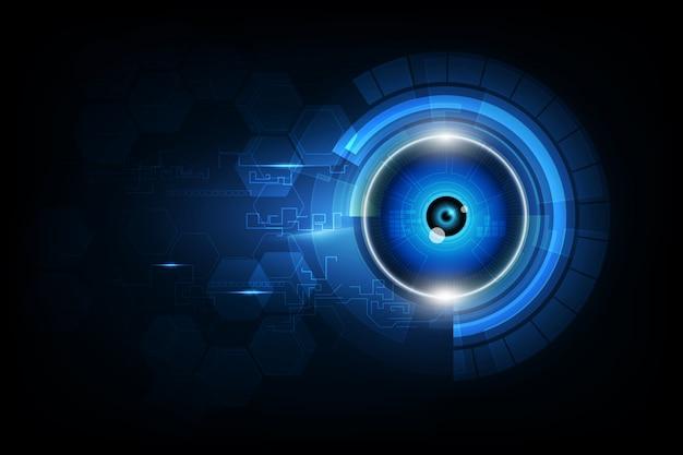 Oogbol toekomstige technologie, veiligheidsachtergrond Premium Vector