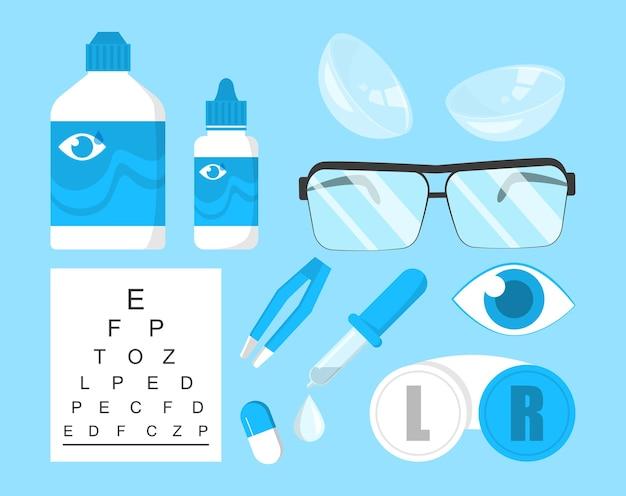 Oogheelkunde collectie geïsoleerd. oogcorrectieapparatuur Premium Vector