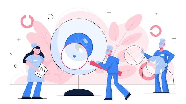Oogheelkunde concept. idee van oogzorg en visie. oogarts behandeling. gezichtsvermogen onderzoek en correctie. Premium Vector