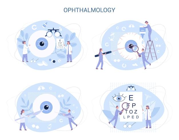 Oogheelkunde. idee van oog- en oogzorg. oogarts behandelingsset. gezichtsvermogen onderzoek en correctie. Premium Vector