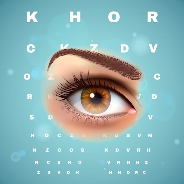 Oogheelkundige optometrische visuele controle grafiek poster Gratis Vector