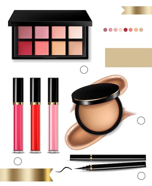 Oogschaduw, lipgloss en poeder blush collectie Premium Vector