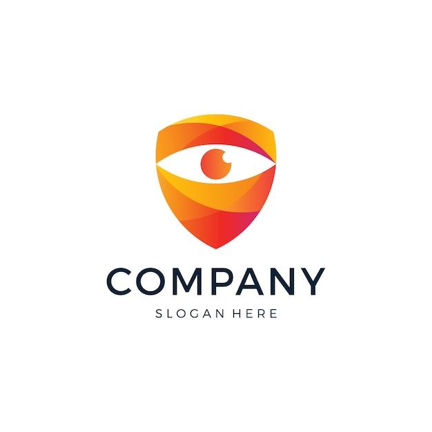 Oogschild logo ontwerp Premium Vector