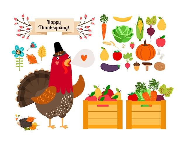 Oogst concept. groenten en fruit voor thanksgiving en menu. haan met de oogst. Gratis Vector