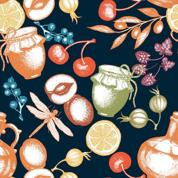 Oogsttijd vers fruit en bessen naadloos patroon Premium Vector